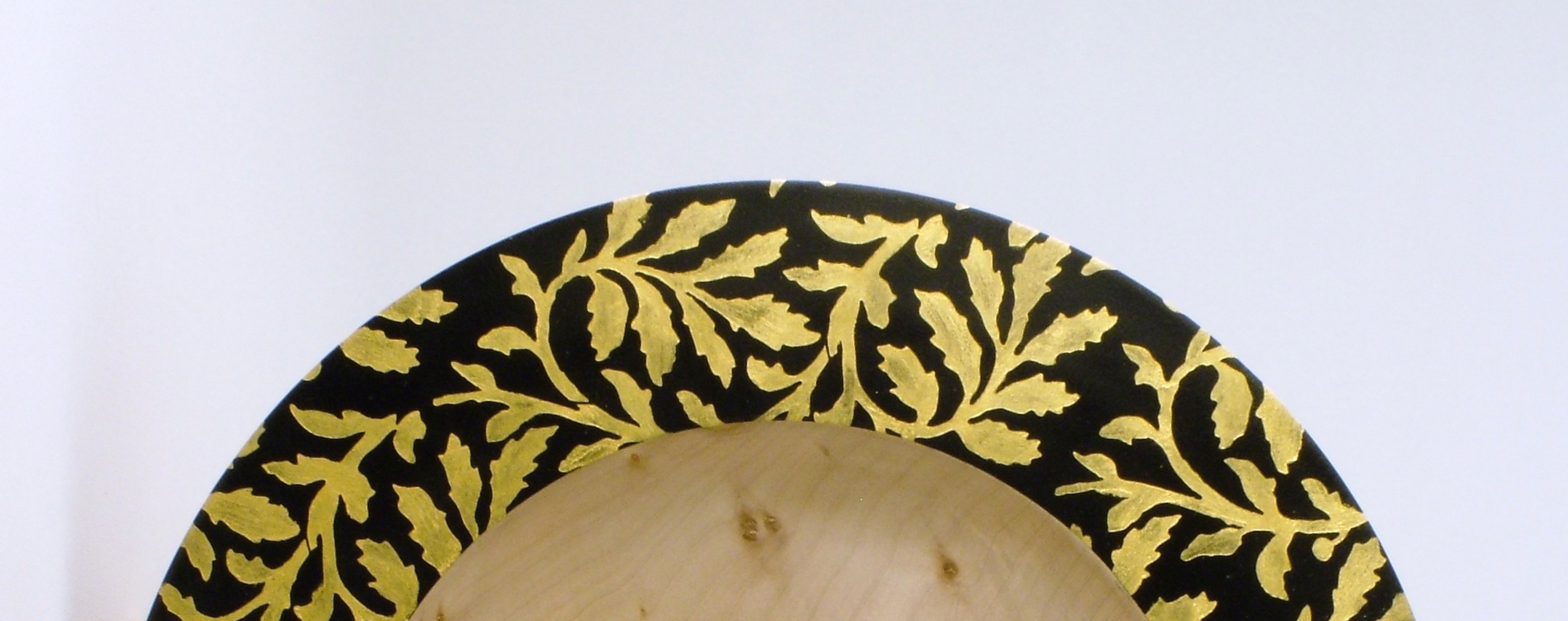 Detail View of the handmade wooden Gold Branch Bowl