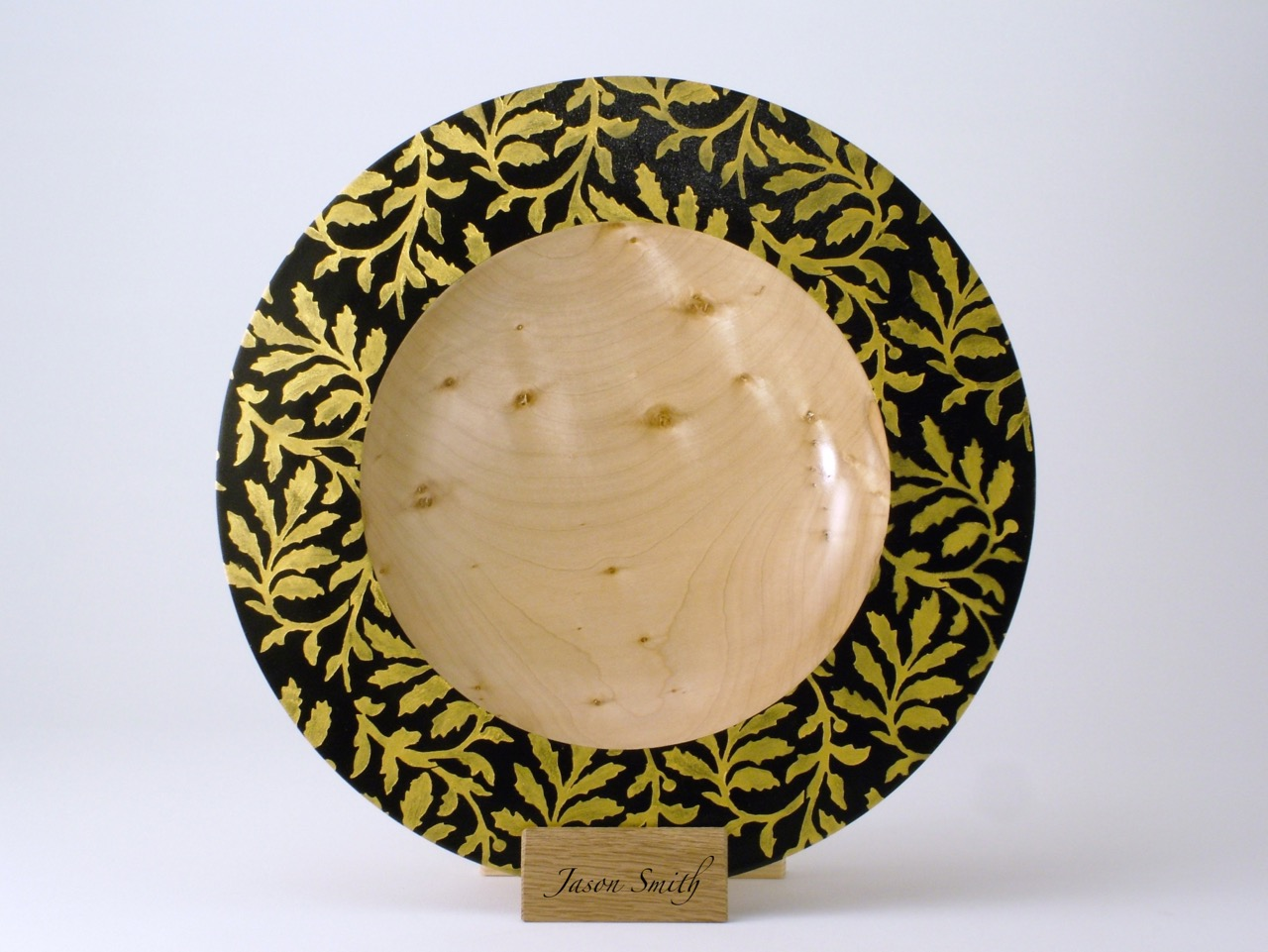 Handmade woodturned gift - Gold Branch Bowl