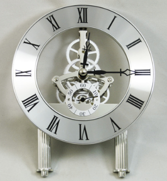 a skeleton Clock in chrome finish